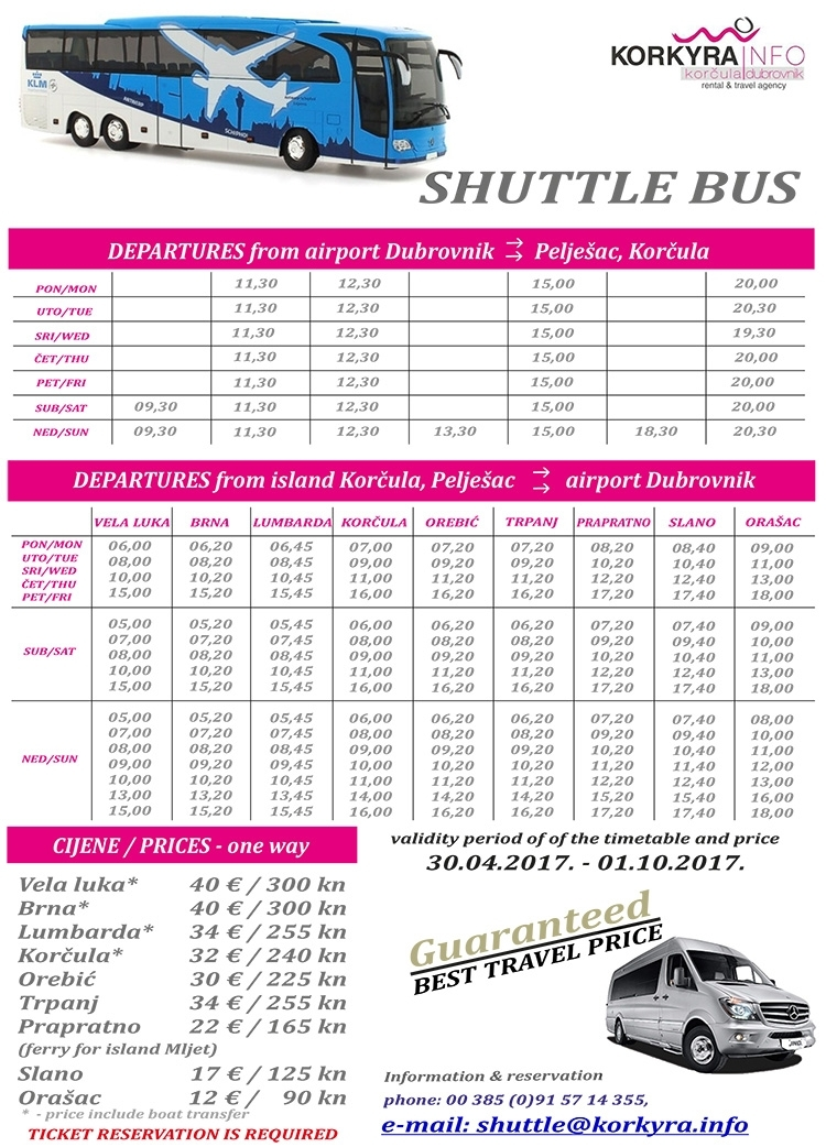 SHUTTLE BUS DBK-KORCULA